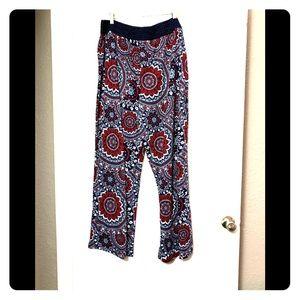 Paisley knit palazzo wide leg pants with slit